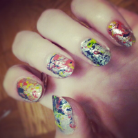 4th of July Jackson Pollock Nails!